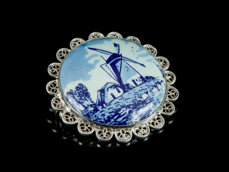 Delft фарфор Делфт купить серебряная брошь филигрань