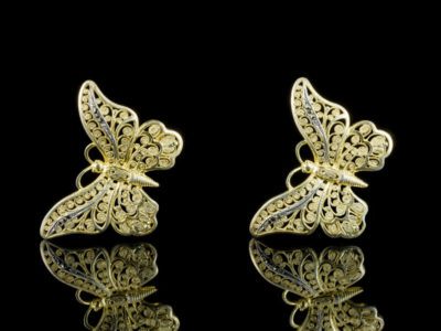 Винтажные серебряные клипсы Германия бабочки