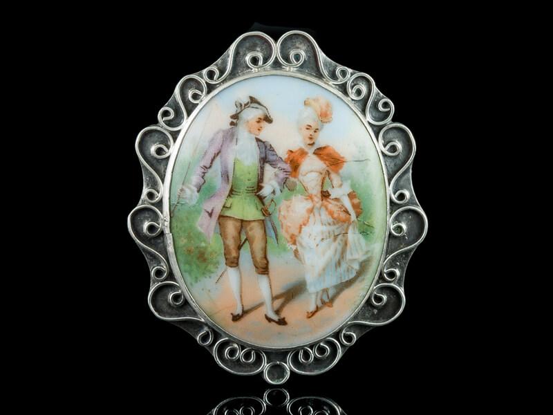 Антикварная брошь серебряная французская Limoges Лимож