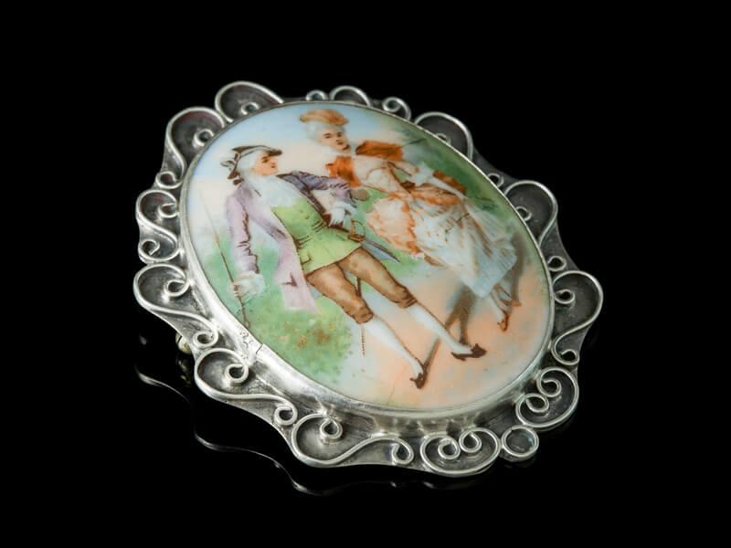 Антикварные украшения Франции серебро брошь Limoges Лимож