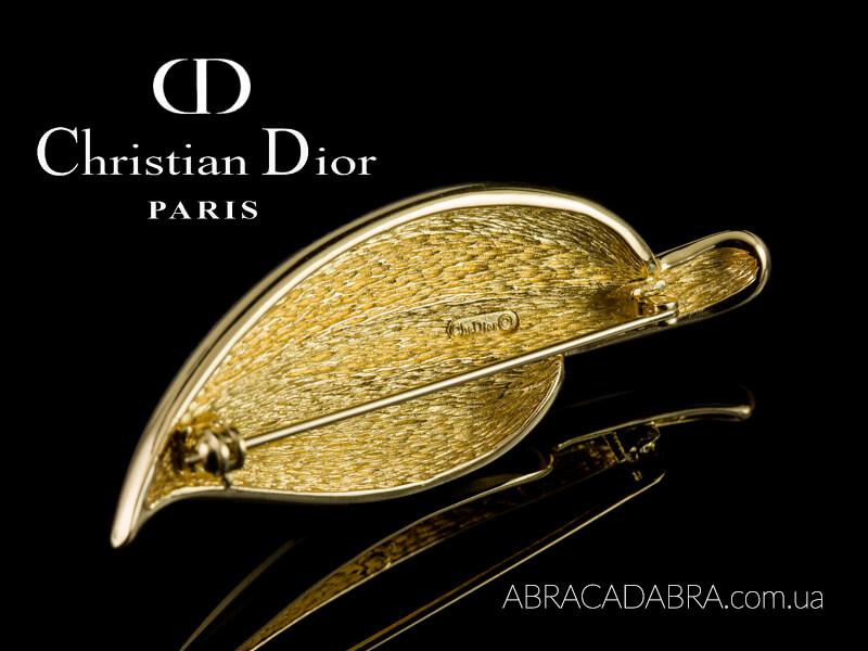 Christian Dior Кристиан Диор брошь винтажная лист