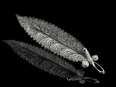 Филигранная брошь серебряная винтажная старинная ретро