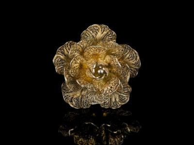 Роза филигрань винтаж серебро брошь