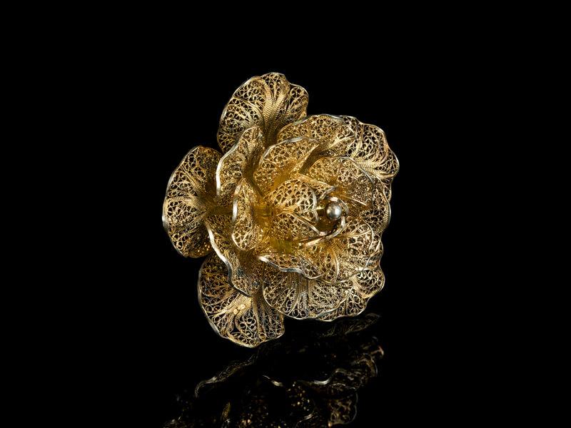 Брошь роза филигранная старинная