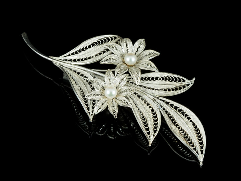 Филигрань украшения серебряные винтажные брошь жемчуг