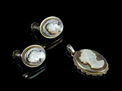 Камеи антикварные серебро Италия кулон серьги