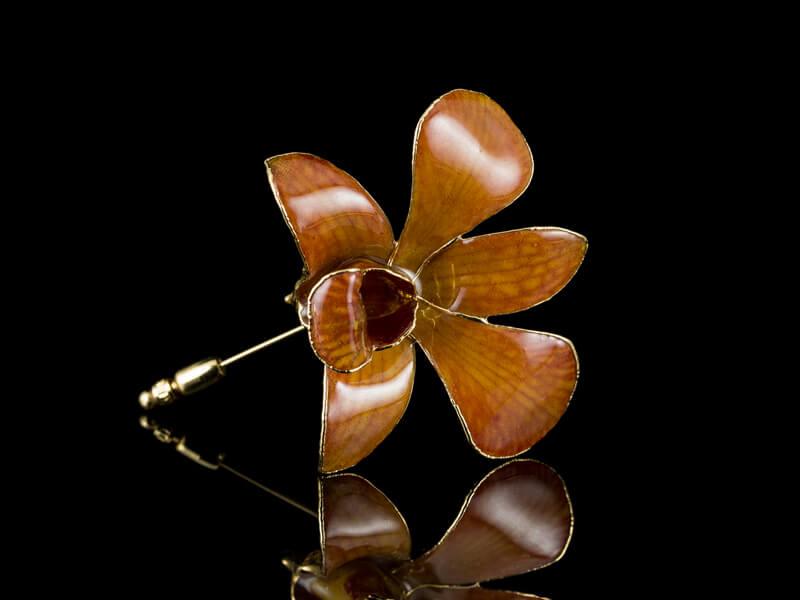 Брошь орхидея живая позолоченная