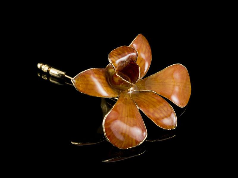 Брошь из орхидеи настоящей в золоте