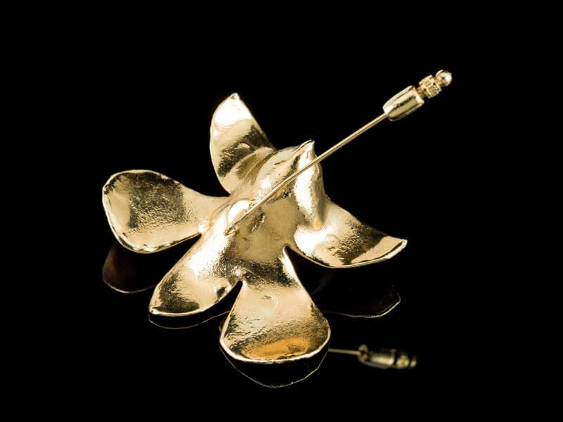 Золотая булавка брошь Орхидея