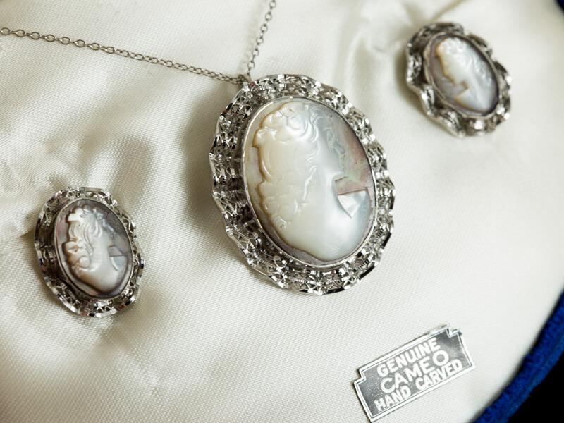 Серебряная камея кулон серьги брошь винтажная